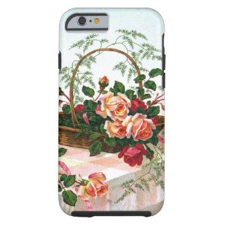 Cesta dos rosas do vintage da vida ainda capa para iPhone 6 tough
