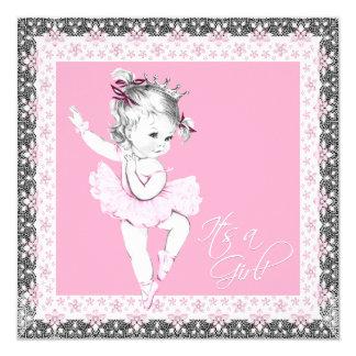 Chá cor-de-rosa e cinzento do bebé da bailarina