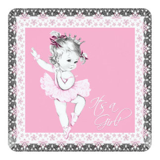 Chá cor-de-rosa e cinzento do bebé da bailarina convite quadrado 13.35 x 13.35cm