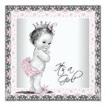 Chá cor-de-rosa e cinzento do bebé do vintage convites personalizado