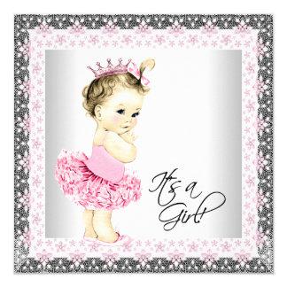 Chá da bailarina do bebé do tutu convite quadrado 13.35 x 13.35cm