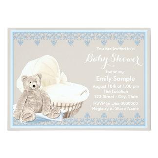 Chá de fraldas bege e azul do urso de ursinho convite 12.7 x 17.78cm