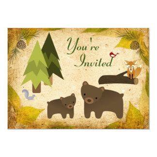 Chá de fraldas bonito dos ursos e dos animais da convite 12.7 x 17.78cm