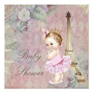 Chá de fraldas chique da princesa Bailarina Floral Convite Quadrado 13.35 X 13.35cm