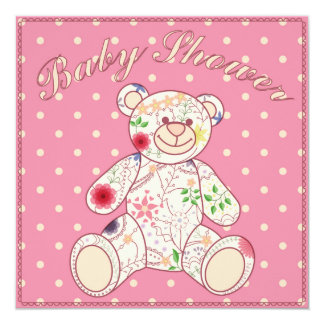 Chá de fraldas com rosa do brinquedo do urso convite quadrado 13.35 x 13.35cm