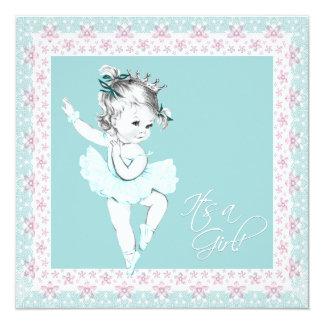 Chá de fraldas cor-de-rosa da menina da bailarina convite quadrado 13.35 x 13.35cm