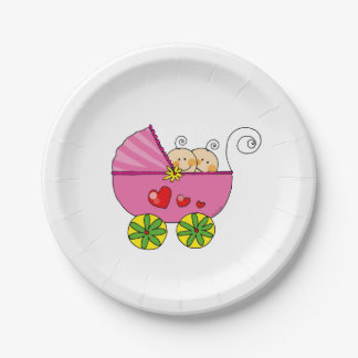 chá de fraldas cor-de-rosa do pram das meninas