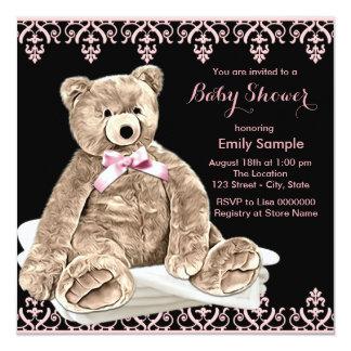 Chá de fraldas cor-de-rosa do urso de ursinho convite quadrado 13.35 x 13.35cm