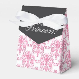 Chá de fraldas cor-de-rosa e preto do damasco caixinha de lembrancinhas para festas