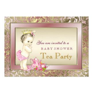 Chá de fraldas cor-de-rosa elegante do tea party convites personalizados