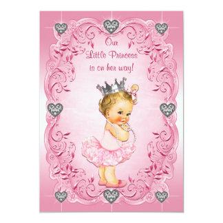 Chá de fraldas da princesa Bailarina Diamante Convite 12.7 X 17.78cm