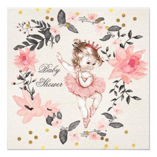 Chá de fraldas da princesa Bailarina Envolver-se Convite Quadrado 13.35 X 13.35cm