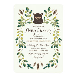 Chá de fraldas de Cub de urso Convite 12.7 X 17.78cm