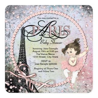 Chá de fraldas de Paris da bailarina do vintage Convite Quadrado 13.35 X 13.35cm