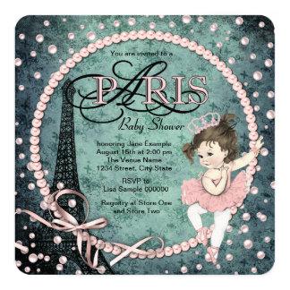 Chá de fraldas de Paris do vintage Convite Quadrado 13.35 X 13.35cm