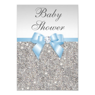 Chá de fraldas de prata dos azuis bebés dos convite 12.7 x 17.78cm