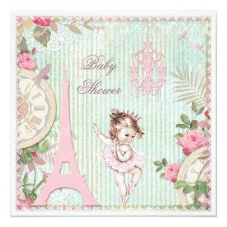 Chá de fraldas do chique da princesa Bailarina de Convite Quadrado 13.35 X 13.35cm