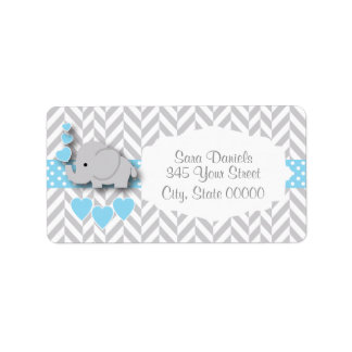 Chá de fraldas do elefante dos azuis bebés, do etiqueta de endereço