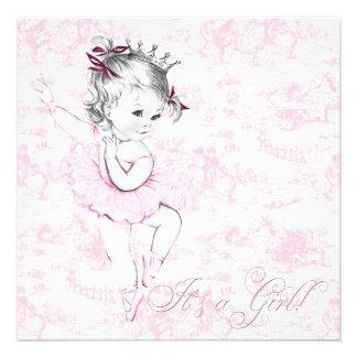Chá de fraldas doce de Toile do rosa da bailarina Convites Personalizado