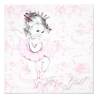 Chá de fraldas doce de Toile do rosa da bailarina Convite Quadrado 13.35 X 13.35cm