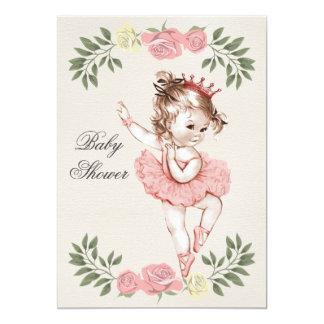 Chá de fraldas dos louros dos rosas da bailarina convite 12.7 x 17.78cm