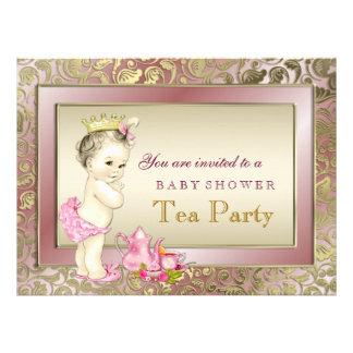 Chá de fraldas elegante do tea party da menina convites