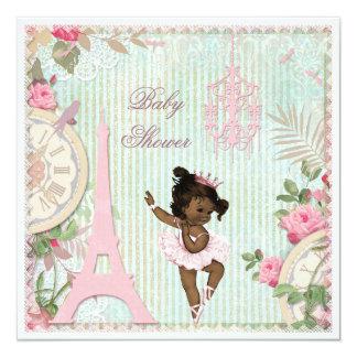 Chá de fraldas étnico da princesa Bailarina Gasto Convite Quadrado 13.35 X 13.35cm