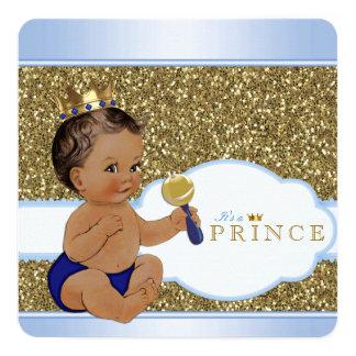Chá de fraldas étnico do príncipe Menino Convite Quadrado 13.35 X 13.35cm