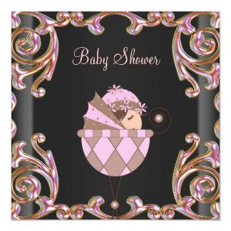 Chá de fraldas preto cor-de-rosa da menina do laço convites personalizados