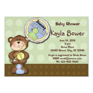 Chá de fraldas verde de Brown do menino do urso de Convite 12.7 X 17.78cm
