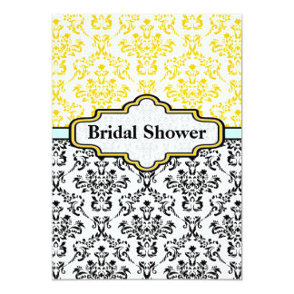 Chá de panela amarelo preto do casamento tema convite personalizados