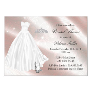 Chá de panela bonito do vestido de casamento convite 12.7 x 17.78cm