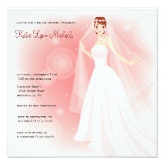 Chá de panela de cora da noiva convite quadrado 13.35 x 13.35cm