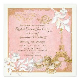 Chá de panela do tea party do palácio de Paris Convite Quadrado 13.35 X 13.35cm