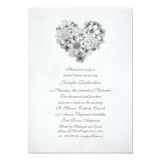 chá de panela do vintage do coração das flores das convite 12.7 x 17.78cm