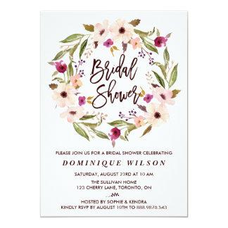 Chá de panela floral boémio lunático da grinalda convite 12.7 x 17.78cm