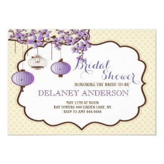 Chá de panela floral do Birdcage da lavanda Convite 12.7 X 17.78cm