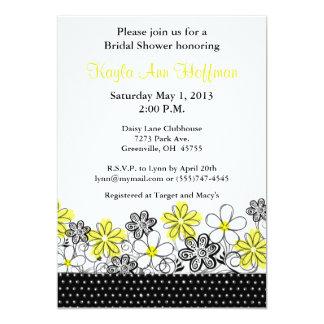 Chá de panela floral preto amarelo convite 12.7 x 17.78cm