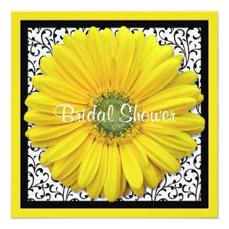 Chá de panela preto amarelo da margarida de Gerber Convite Quadrado 13.35 X 13.35cm