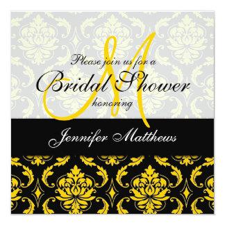 Chá de panela preto amarelo do damasco convites personalizados
