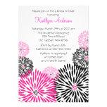 Chá de panela preto/cor-de-rosa na moda da flor convite personalizado