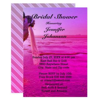 Chá de panela roxo da praia do por do sol da noiva convite 12.7 x 17.78cm