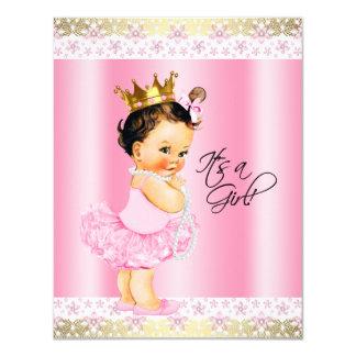 Chá do bebé da pérola da bailarina do tutu convite 10.79 x 13.97cm