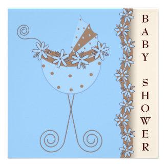Chá do bebé de Brown azul do carrinho de criança d Convite Personalizados