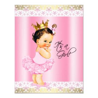Chá do bebé do tutu do rosa e da bailarina do ouro convite 10.79 x 13.97cm
