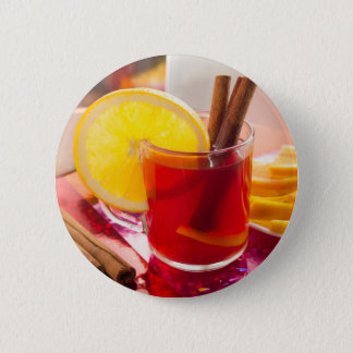 Chá do citrino da fruta com canela e laranja bóton redondo 5.08cm