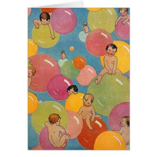 Chá do estilo do vintage dos bebês em bolhas cartão comemorativo
