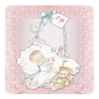 Chá elegante do bebé do rosa do vintage convite quadrado 13.35 x 13.35cm