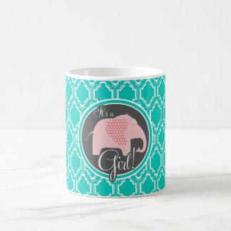 Chá retro do elefante do bebé de turquesa do Aqua Canecas