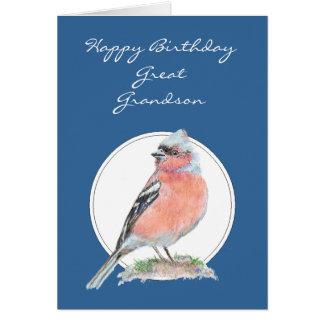 Chaffinch bonito, excelente do aniversário - neto cartão comemorativo